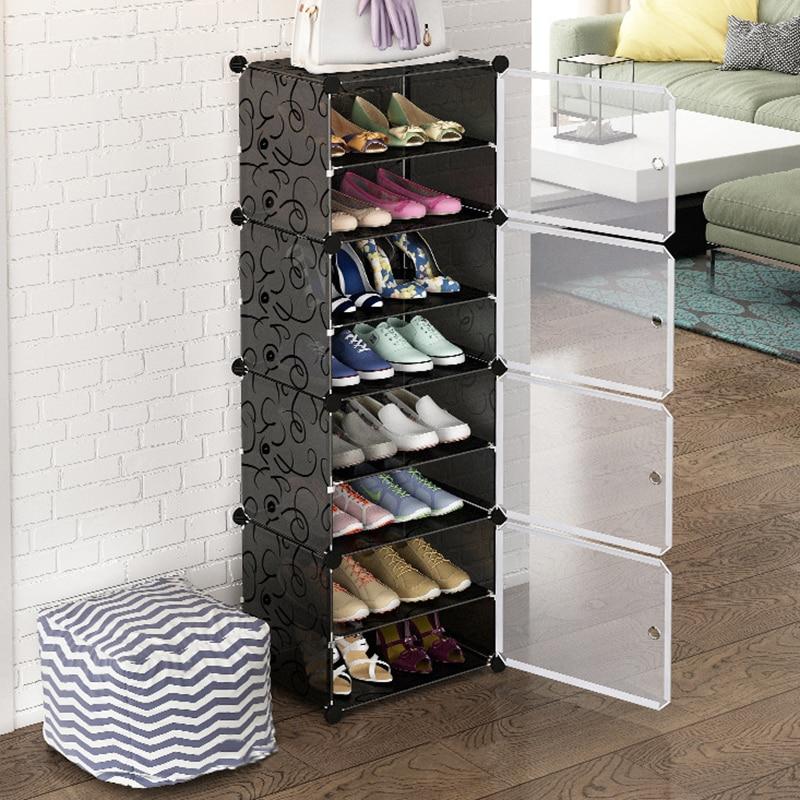 Многослойная простая полка для обуви, компактный органайзер для обуви, шкаф для обуви, модульный шкаф для обуви с дверцей, домашняя мебель