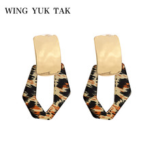 wing yuk tak ZA Resin Tortoise Stud Earrings for Women Fashion Geometric Vintage Brincos oorbellen voor vrouwen