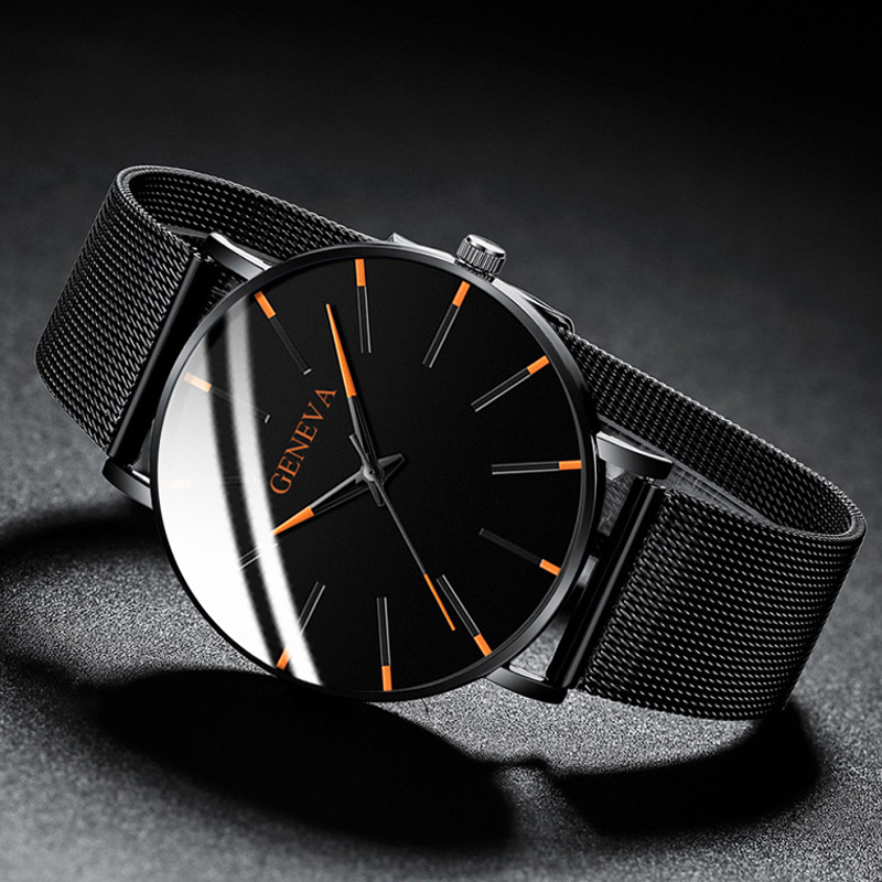 2021 Minimalist Men's Fashion Ultra Thin Watches Simple Men Business Stainless Steel Mesh Belt Quartz Watch relogio masculino 4
