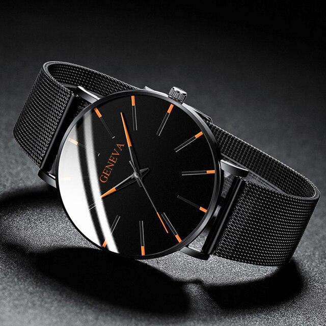 2020 moda masculina minimalista ultra fino relógios simples negócios aço inoxidável malha cinto relógio de quartzo relogio masculino 3