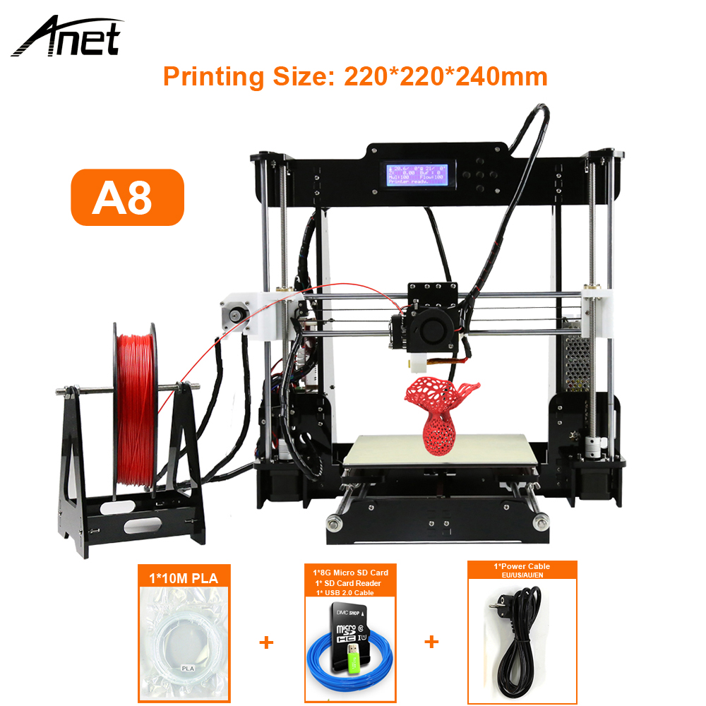 Anet Upgradest A6 Big Size High Precision Reprap Prusa i3 DIY 3D Printer Kit with Aluminium Hotbed & Filament & SD Card & LCD