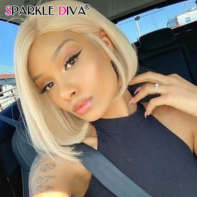 613 Blonde Short Bob Wigs Lace Front Human Hair Wigs Pre Plucked With Baby Hair Brazilian Straight Remy Hair 5*1 Lace Bob Wig 1