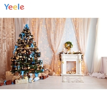 Yeele Christmas Backdrop Tree Fireplace Curtain Gift Newborn Baby Birthday Party Photocall Photography Background Photo Studio