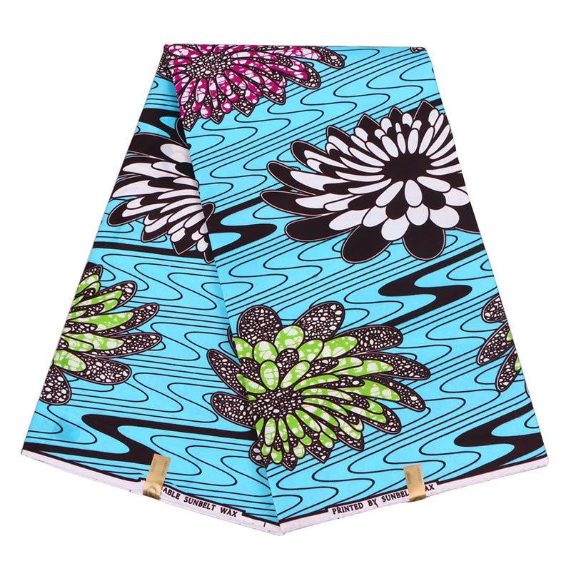 African Wax Veritable Prints 100% Polyester Ankara Fabric Dutch Real Wax Printed Fabrics 6 Yards For Ankara Party Dresses