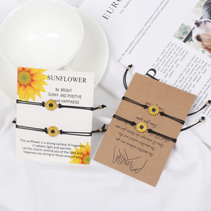 Sunflower fBFF I Love You Morse Code Bracelet Couples Matching Bracelets for Him and Her Boyfriend and Girlfriend Mother Gifts