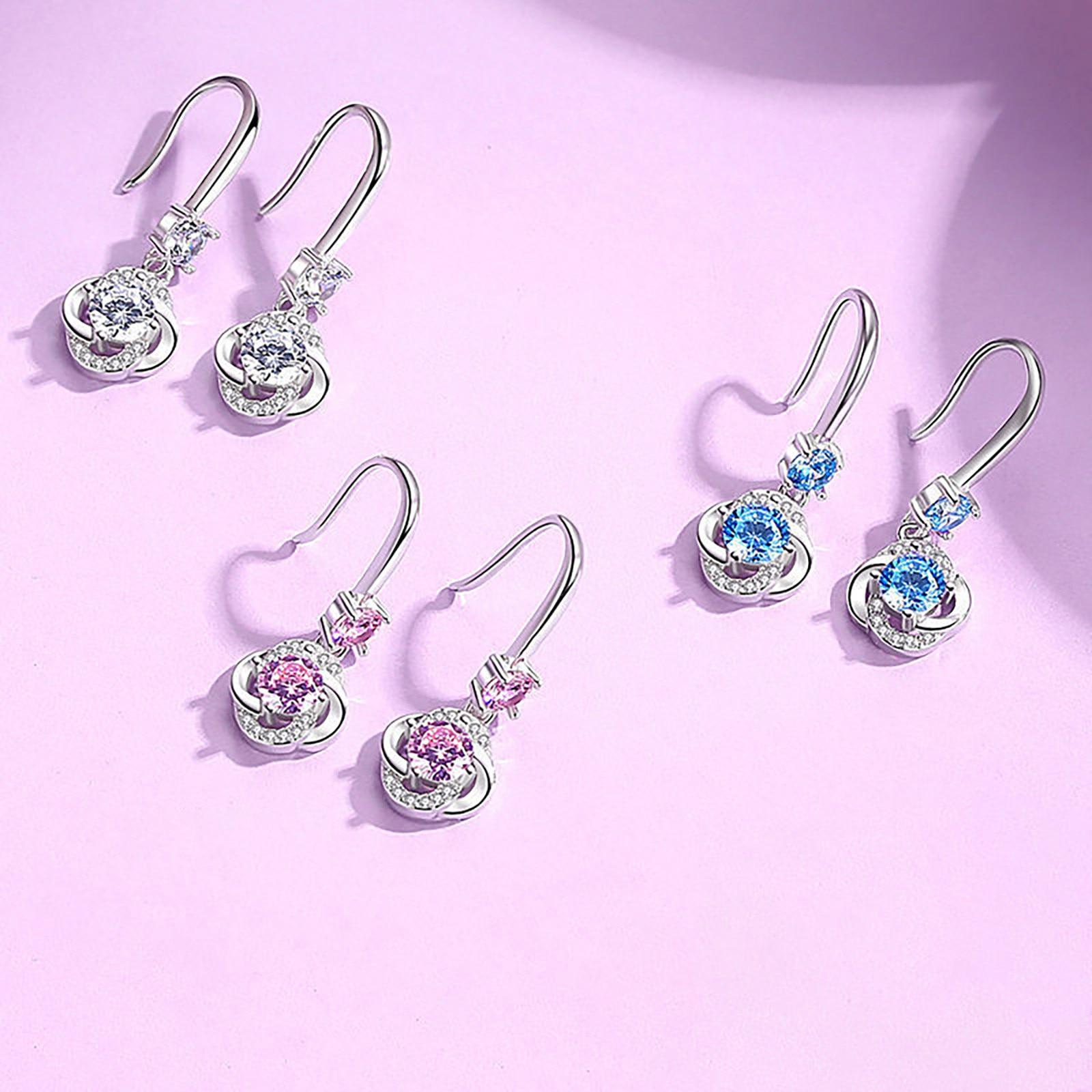 Серьги-подвески женские с кристаллами, висячие ювелирные украшения со стразами из драгоценных камней, подарок на Рождество