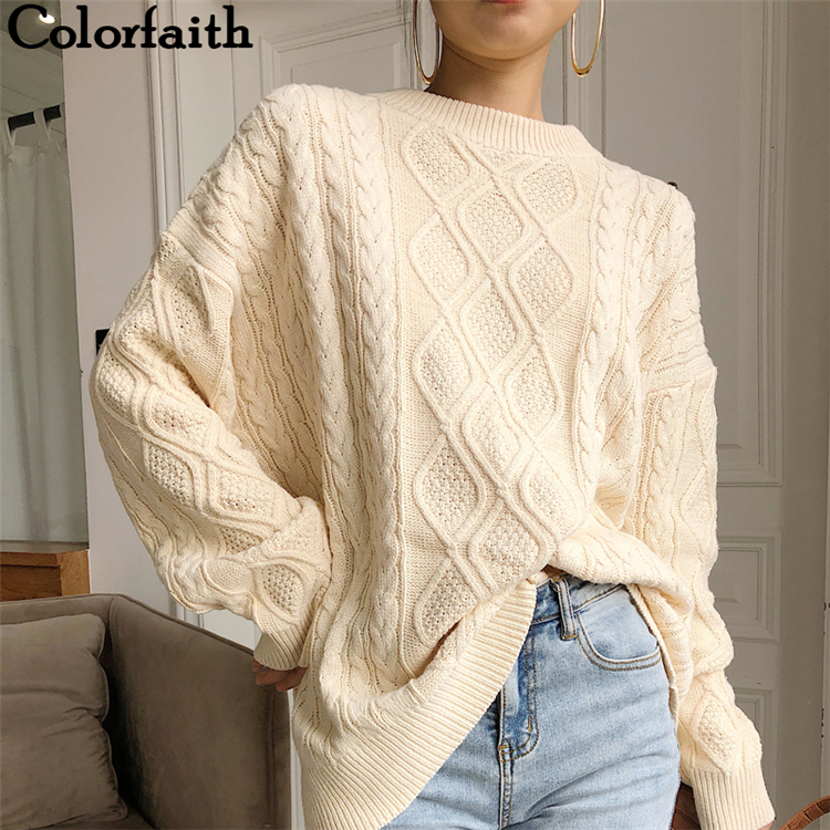 Colorfaith New 2020 Spring Women Pullovers Sweater Oversize Knitting Loose Elegant Casual Solid Minimalist Tops SW7418