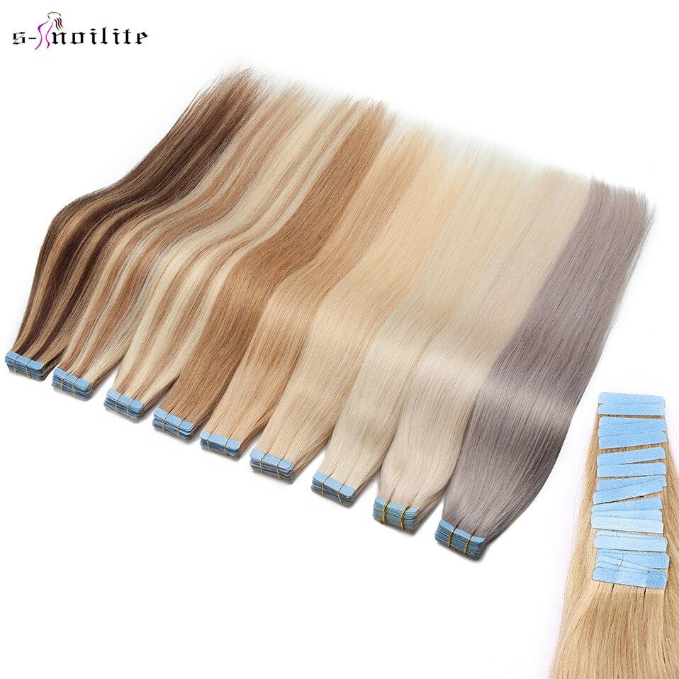 """S-noilite 1.5 g/pc 14 """"-24 tape fita no adesivo da extensão do cabelo humano não-remy 20/40 pces trama reta da pele natural preto marrom loira"""