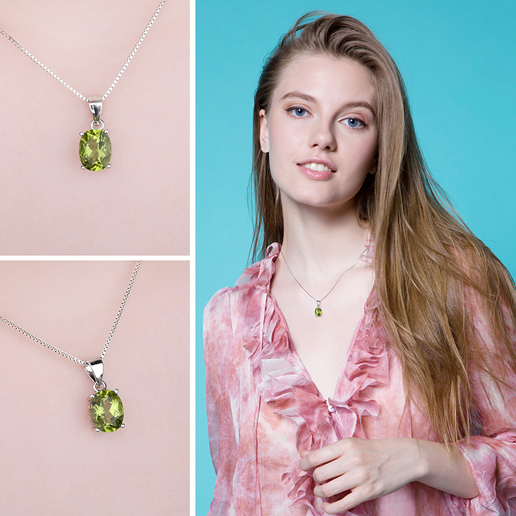 Hab07b3136ebb41d0a8d7b7ab7fefd747e Natural Peridot Pendant Necklace 925 Sterling Silver Gemstones Choker Statement Necklace Women silver 925 Jewelry Without Chain