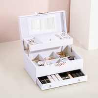 Multifunctional Lock Jewelry Makeup Storage Box Travel Portable Watch Bracelet Organizer Earrings Ring Necklace Case Accessories