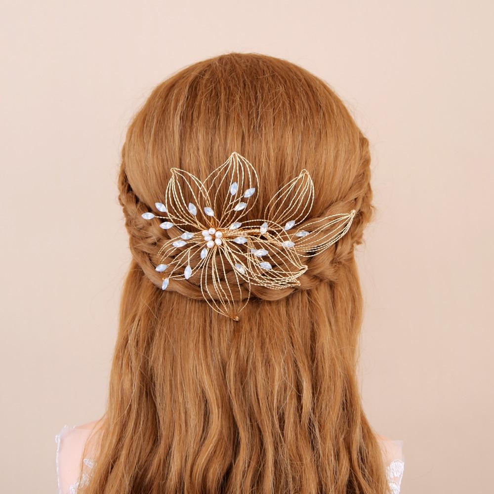 TRiXY H257-G Wired Crystal Rhinestone Wedding Hair Comb Vine Bridal Hair Pins Opal Diamond Bridal Head Pieces Jewelry for Bride