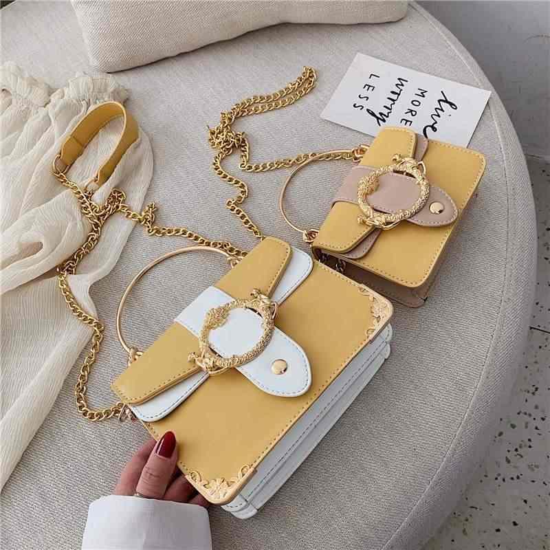 Женская сумка-тоут с металлическим кольцом YL, Элегантная модная дизайнерская сумочка из искусственной кожи на цепочке, мессенджер на плечо