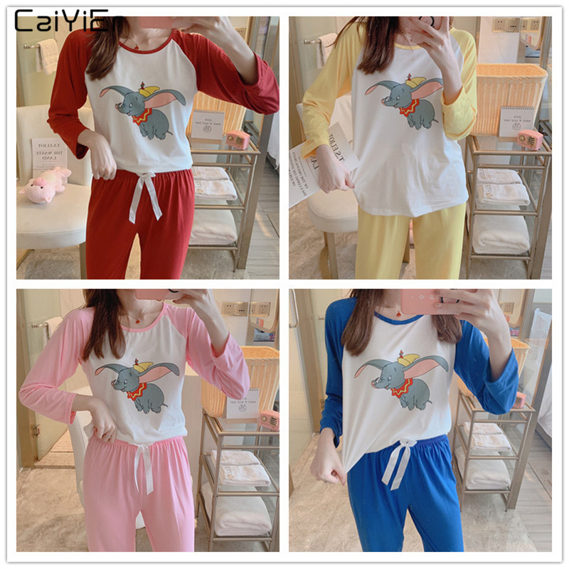 Caiyier 2019 Cute Dumbo Print   Pajama     Set   Long Sleeve + Long Pant Sleepwear Spring Autumn O-Neck Female Nightwear Suit