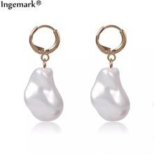 Boucles d'oreilles coréennes simulées de perles pour femmes, Brincos, bijoux géométriques, blanc/bleu/rose, Baroque, goutte de perles, Punk, oreilles