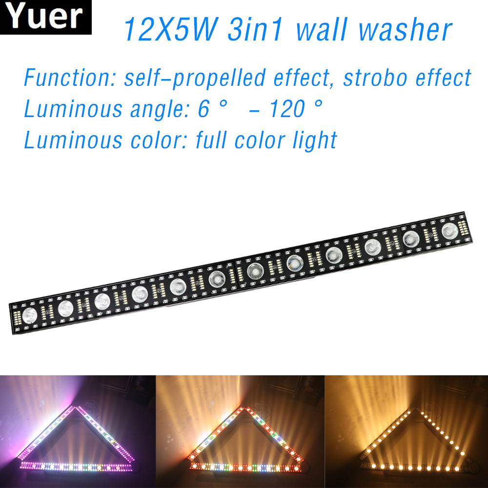 12x5W RGBW Disco DJ Stage Light 3in1 LED Wall Washer Outdoor Strobe Effect Light DMX512 For Club Bar Party Wedding Flood Light
