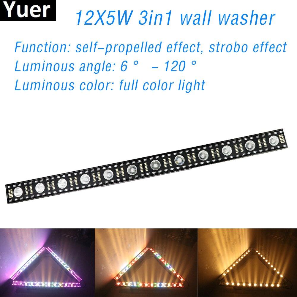 12x5W RGBW Disco DJ Stage Light 3in1 LED Wall Washer Outdoor Strobe Effect Light DMX512 For Club Bar Party Wedding Flood Light