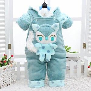 Image 4 - Conjuntos de ropa de abrigo para bebé recién nacido, sudaderas con capucha de algodón grueso de terciopelo + Pantalones de babero, chándales de 2 uds para niña pequeña 2Y