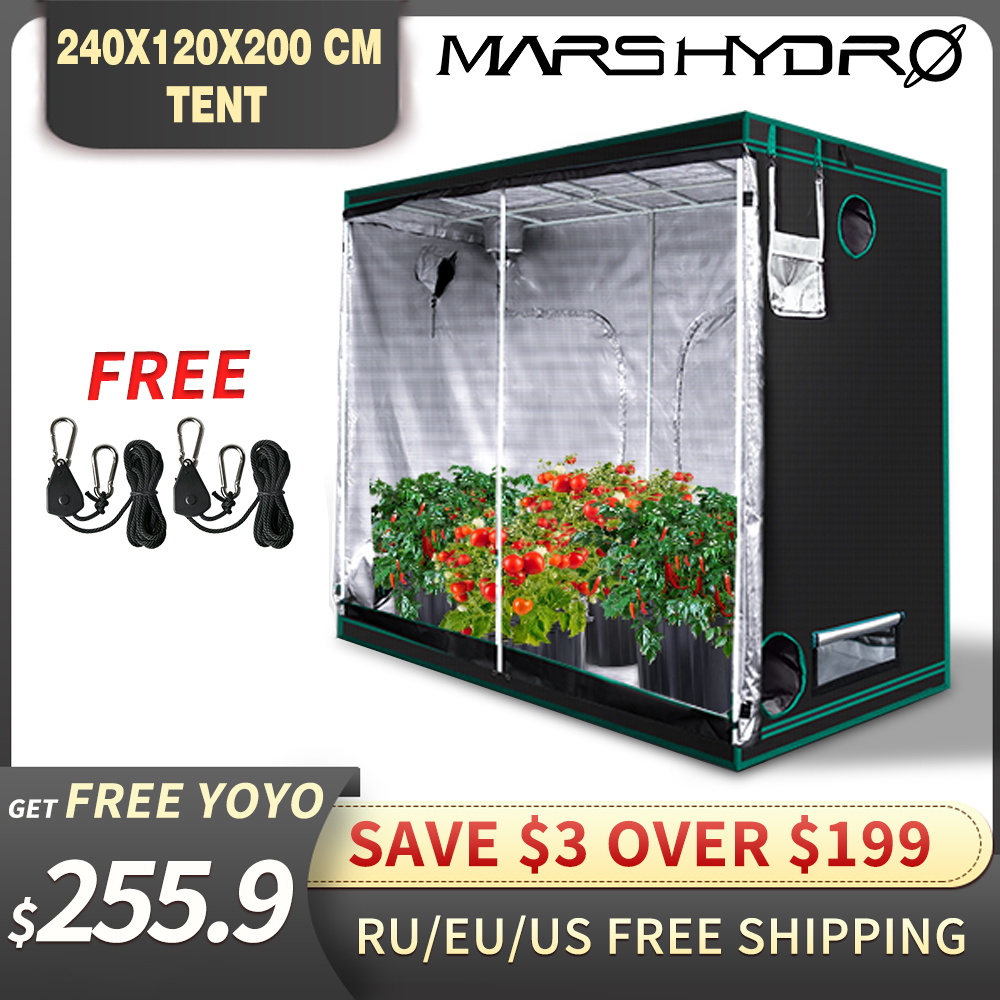 1680D Mars Hydro 240X120X200cm Indoor LED Grow Tent Indoor Growing  System Non-toxic Plant Room Indoor Garden Water-proof Hut