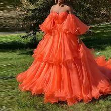Женские вечерние платья длиной до пола оранжевые Роскошные пикантные