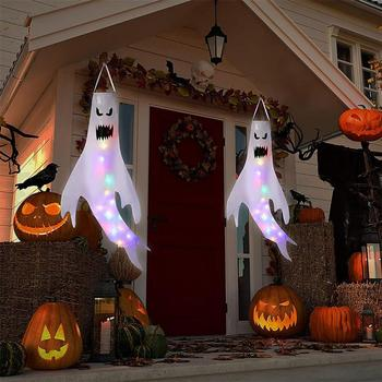 Halloween Decoration Specter Windsocks LED Glowing Hanging Spooky Horror Themed Party Home Decoration Yard Outdoor