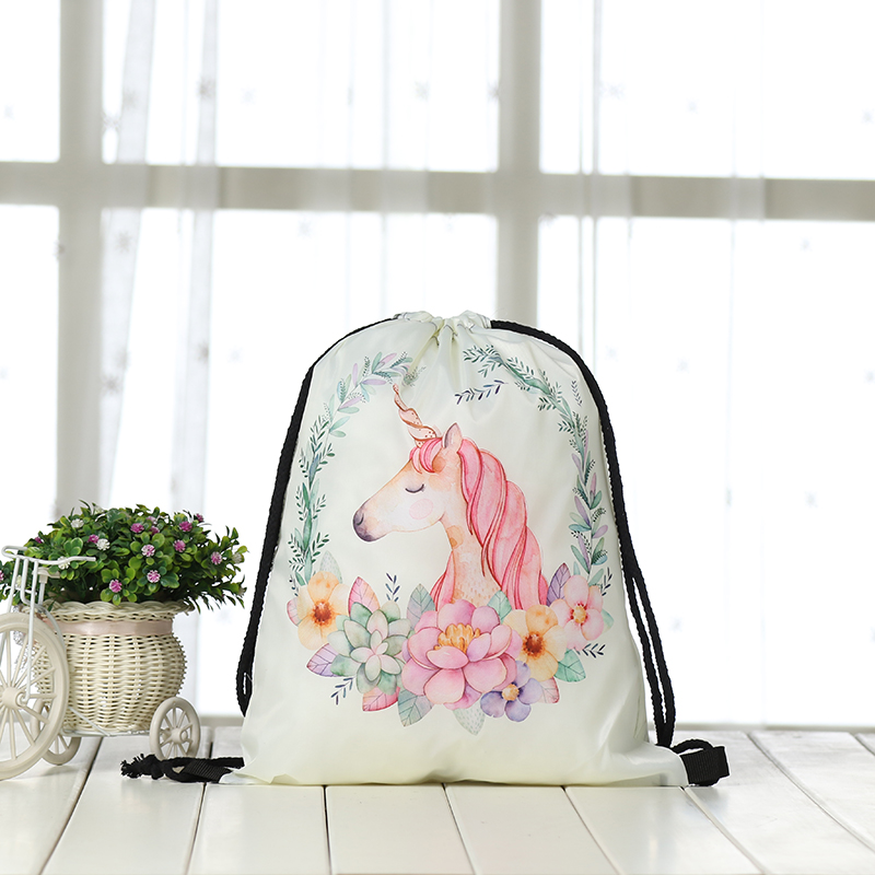 Fashion Bunches Bags Drawstring Backpack Women Printing Travel Softback Men Unicorn Drawstring Bags Unisex Casual Shoulder  3D