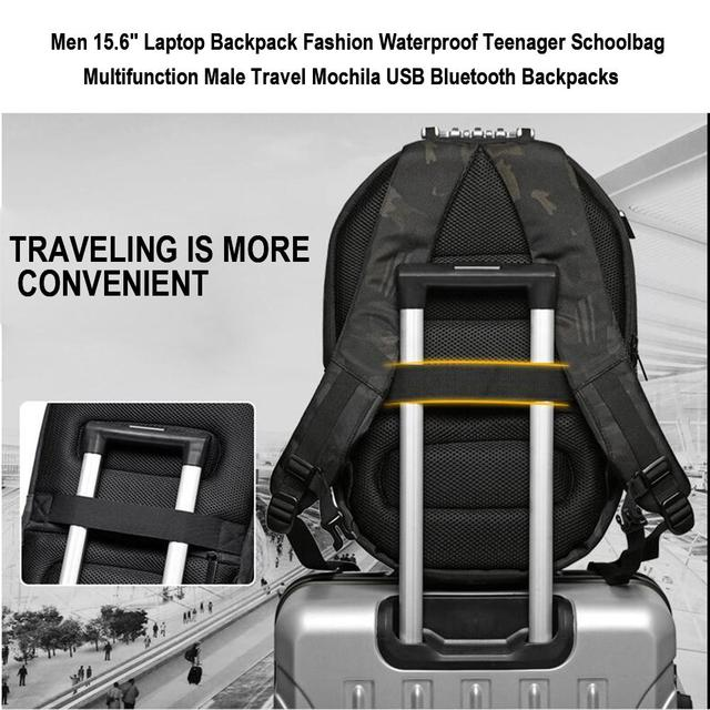"""OZUKO hombres 15,6 """"Mochila para ordenador portátil a la moda impermeable para adolescentes Mochila multifunción para viaje masculino Mochila USB Bluetooth"""