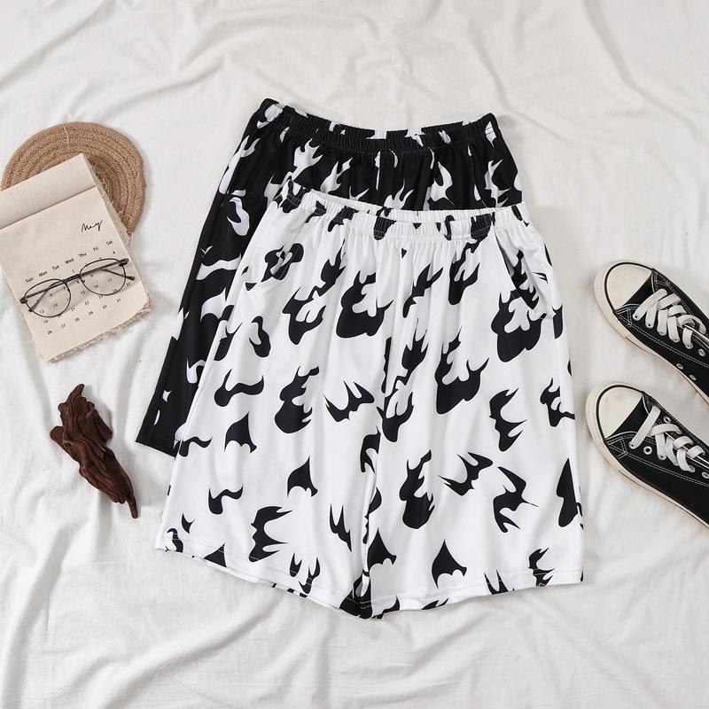 Billie Eilish Shorts Women Summer Hawaiian Magic Shorts White Fire Black Flame Printed Hip Hop Womens Harajuku Shorts