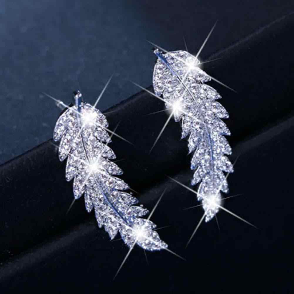 Fashion Statements Stud Earrings For Women Delicate Rhinestone Feather & Leaf Shape Cuff Ear Rings Silver Gold Crystal Sparkling