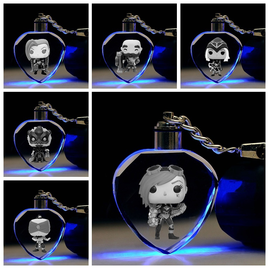 League Of New Legends Jinx Braum Crystal Keychain LOL Blind Monk Icey Cute Funny Colorful LED Pendant Key Chains Breloki Kid Toy