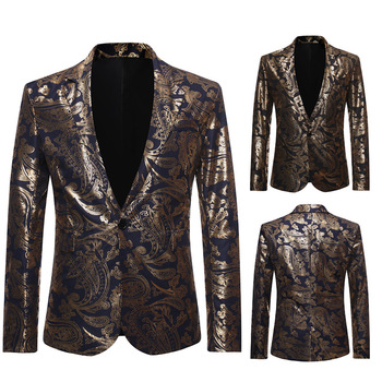 The new 2019 new men golden suit fashion youth jacquard thin suit