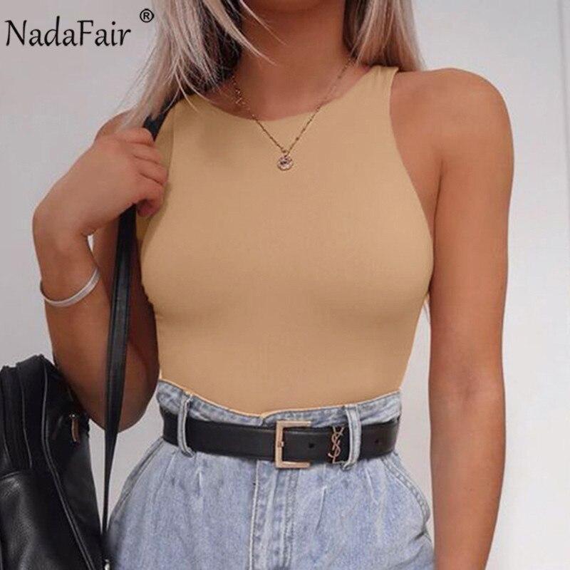 Nadafair Bodysuit Women 2020 O Neck Fitness Tank Body Tops Black Off Shoulder Summer Sleeveless Sexy Bodysuit Women
