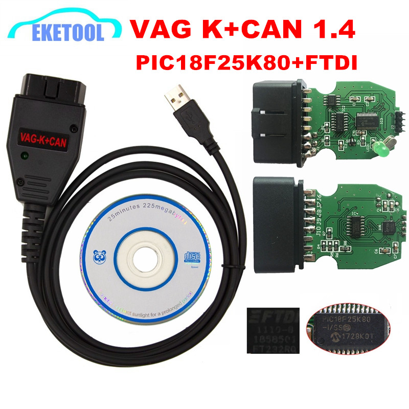 For VAG K+CAN Commander 1.4 Green PCB PIC18F25K80 FTDI FT232RQ Chip For AUDI/VW/Skoda/Seat VAG K+CAN 1.4 K Line Commander Full-in Car Diagnostic Cables & Connectors from Automobiles & Motorcycles