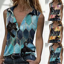 2021 Women Top Fashion V Neck Cat Print Sleeveless Vest Loose Tank Tops Ropa Mujer Y2K Aesthetic Cami Haut Femme Tanques Y Camis