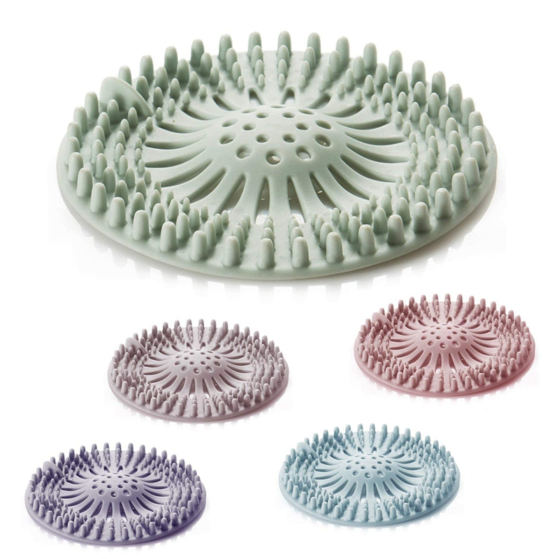 5 Pack Hair Catcher Hair Stopper Shower Drain Covers For Bathroom Bathtub And Kitchen - Rubber Sink Strainer Silicone Filter Hom