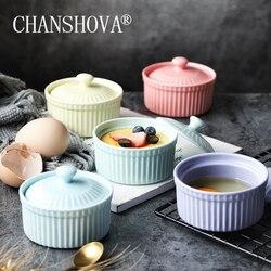CHANSHOVA nowoczesna ceramika z pokrywką miska deserowa porcelana mała miska na zupę forma do pieczenia ciasta naczynia kuchenne H144