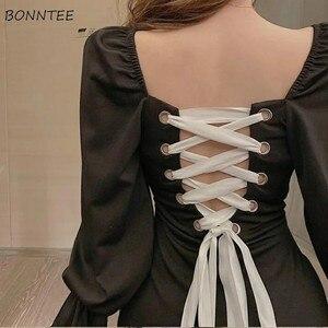 Sukienka moda damska Vintage Backless sznurowane Design elegancki czarny Femme Vestidos klasyczna odzież klubowa Retro wiosenne sukienki dla dziewczynek