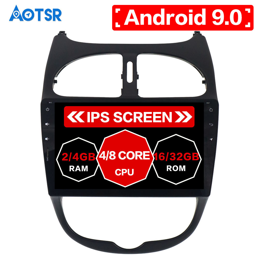 AOTSR 9 inch big screen just us HD 1024X600 Car System Android 9.0 For <font><b>Peugeot</b></font> <font><b>206</b></font> 2000-2016 Radio Audio Video GPS Navigation image