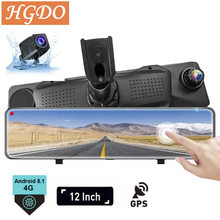 "2020 Hgdo 4G 12 ""Dash Cam Dual Lens Achteruitkijkspiegel Auto Dvr Android 8.1 Adas Navigatie Full Hd 1080P Video Registrar Recorder(China)"