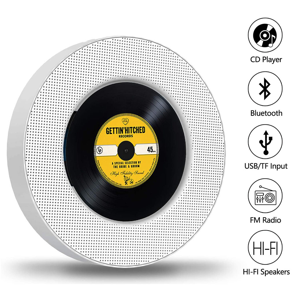 Portable CD Player Wall Mounted Bluetooth CD CD-R CD-RW MP3 WMA Player TF Card AUX Audio Input