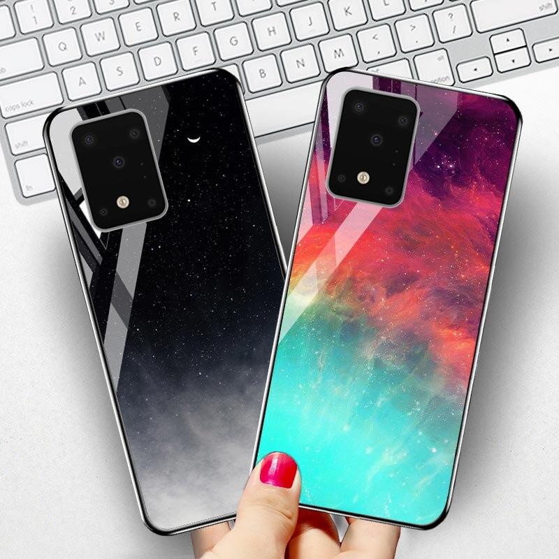 Закаленное стекло чехол для Samsung Note 10 8 Случаи Star Space Бампер для Samsung Galaxy S8 S9 S10 Plus S10e 5G S20 Ультра Обложка Etui|Специальные чехлы|   | АлиЭкспресс