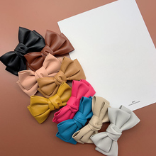 Women Big Size PU Leather Bowknot Hair Barrettes Solid Handmade Double Bows Hair Clips Quality Elegant French Clips 9 Colors