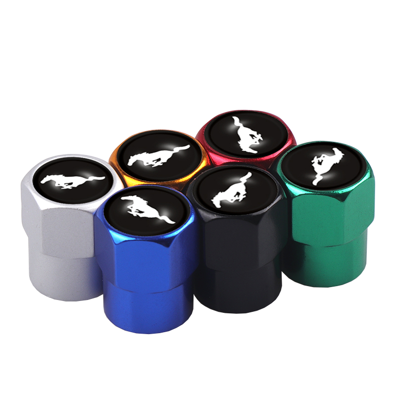 4PCS Car Tires Wheel Valve Cap Dust Cover Auto Styling Stickers for Ford Wolf ST Racing GT Shelby Mustang Kuga Accessories