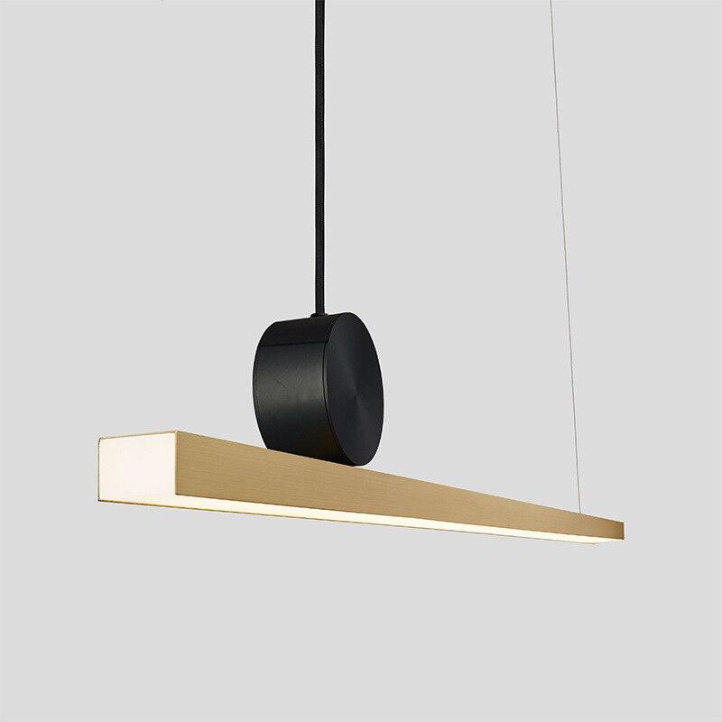 Geometric Line Pendant Lamps Restaurant Nordic Post-modern Designer Long Table Dining Room Light Luxury Copper Pendant Light