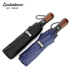 Leodauknow trzy składane pełne automatyczne UV i odporny na wiatr słońce i wiatr protection10k men'sbusiness elite słoneczne i deszczowe parasol w Parasole od Dom i ogród na