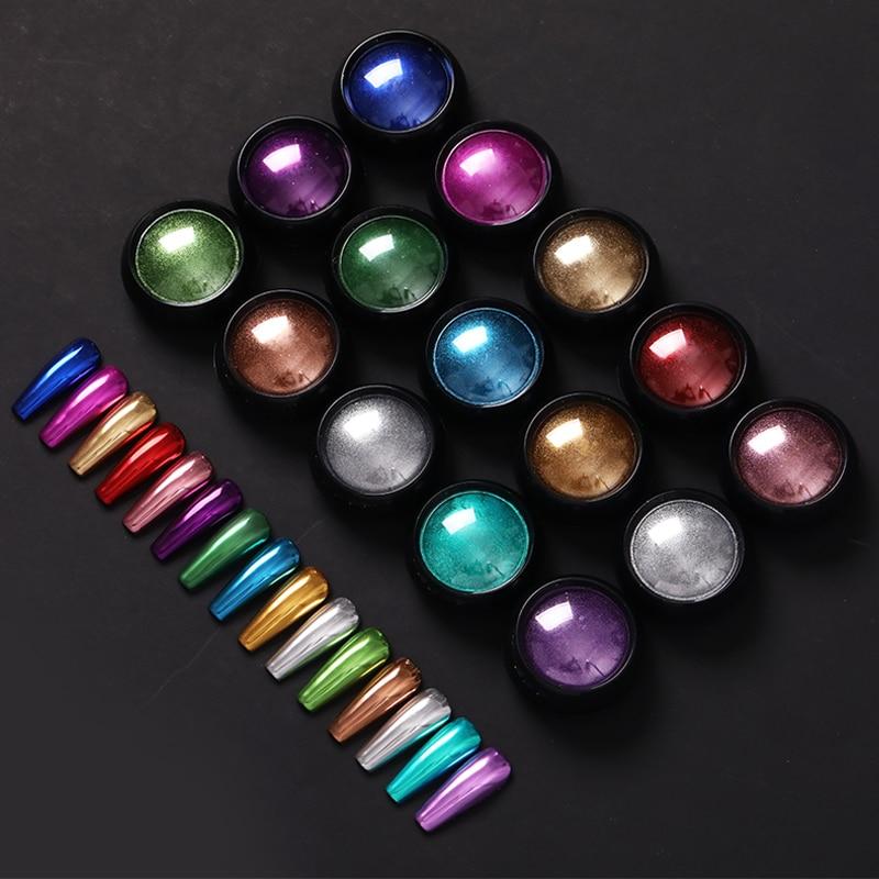 Зеркальный ногтевой порошок Красочные золотые, шампанские, серебряные металлические эффекты, блеск для ногтей, Хромовый пигмент, пылевые ногти, украшения, «сделай сам», маникюр|Блестки для ногтей|   | АлиЭкспресс