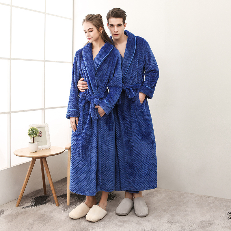 40-110KG Plus Size Men Winter Long Plaid Warm Coral Fleece Bathrobe Flannel Bath Robe Kimono Robes Dressing Gown Night Sleepwear