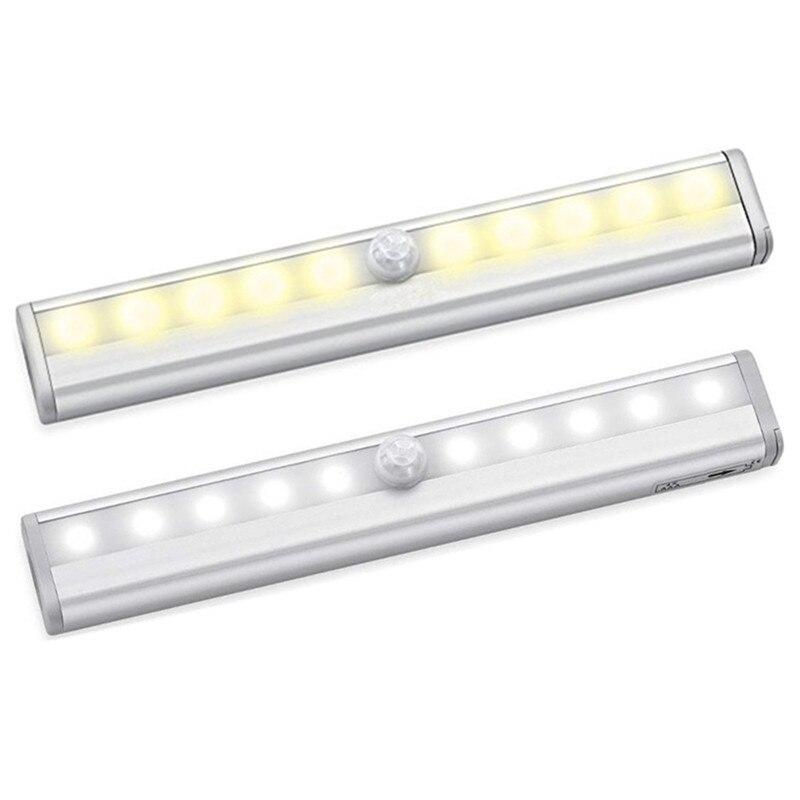 100pcs/lot Creative LED Night Light Human Sensor Lamp Intelligent Infrared Sensor 10led Wall Lamp Cabinet Light Wholesale