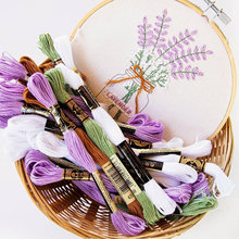 25 Designs Beginners Of Embroidery Diy Kit + Bamboo Hoop Thread Flowers Plants Pattern Cross Stitch Sewing Tools Punch Needle