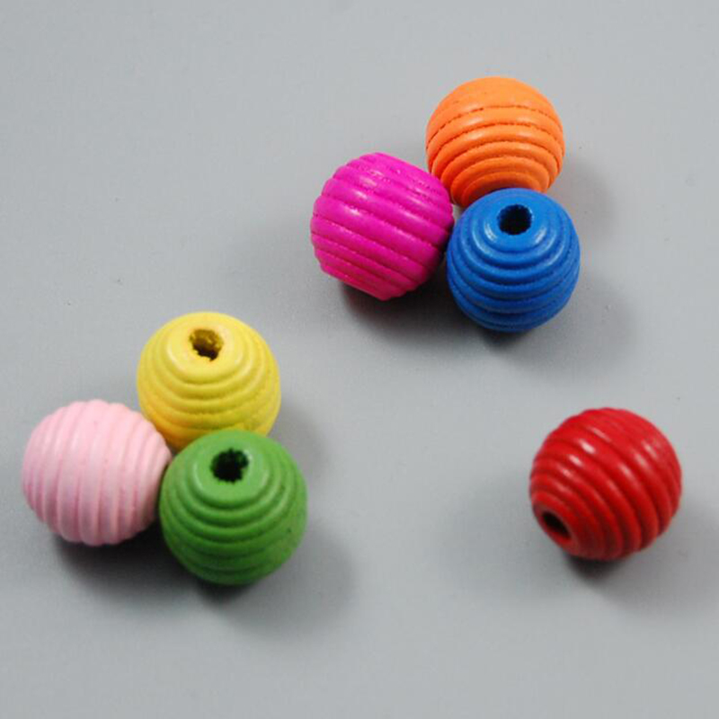 50pcs/pack Wooden Beads Baby Pacifier Clips Chain Rattle Toys Bracelet Wooden Crochet Beads Beech Wood Ring Baby Kid Product Toy