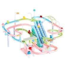 Piggy Track Cars LED Light  Tracks Toy Cars Electronics Car Track Educational Rail Car Toy Racil Tracks Car Kids For Toys